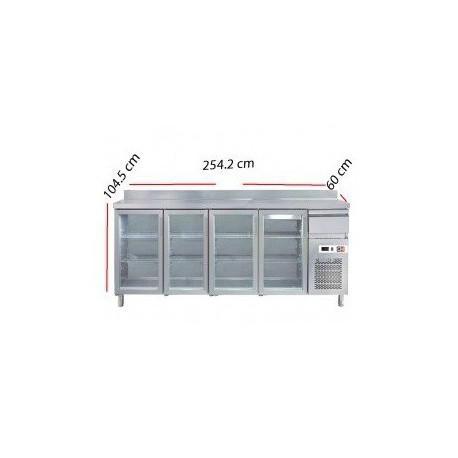Alto mostrador 4 puertas de cristal 2500x600x1050mm