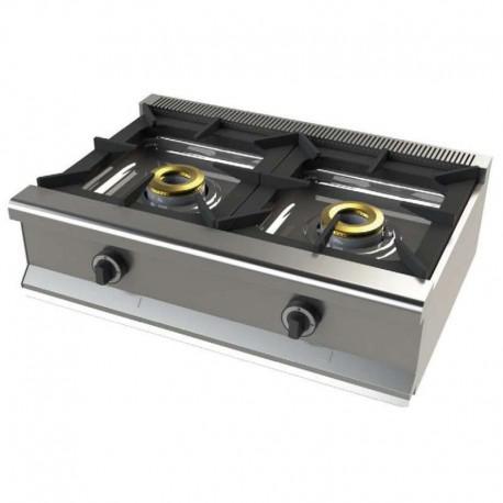 Cocina gas 2 fuegos sobremesa 800x550x240mm