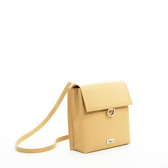 Beige cuero mujer mini bolso bolso crossbody pequeño cuero