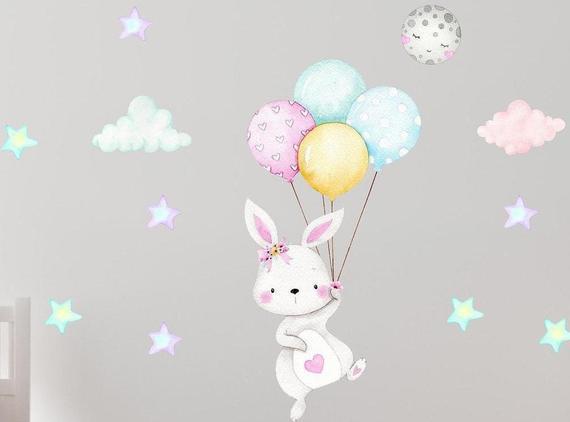 Bunny nursery decor wall decal safari hearts art baby girl