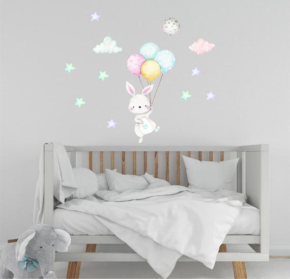 Bunny wall decal nursery decor art baby room boys blue