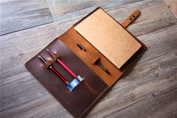 Cubierta de cuero de la cubierta de cuero del cuaderno de la