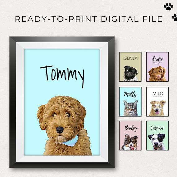 Digital custom pet portrait / memorial pet portrait / pet