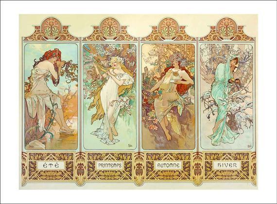 Mucha - the four seasons 1896 - impresión art nouveau de