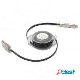 Unotec cable 2 en 1 retráctil microusb 8 pins