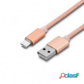 Unotec cable metálico usb-c a usb 1m rosa dorado
