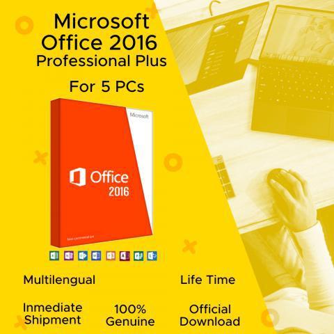 Office 2016 pro plus para 5 pcs 100% original