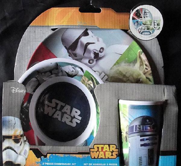 Star wars - set de vajilla 3 piezas de melamina - disney,