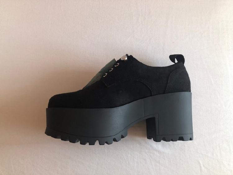 Zapatos ante negro tacón (6cm) de mustang