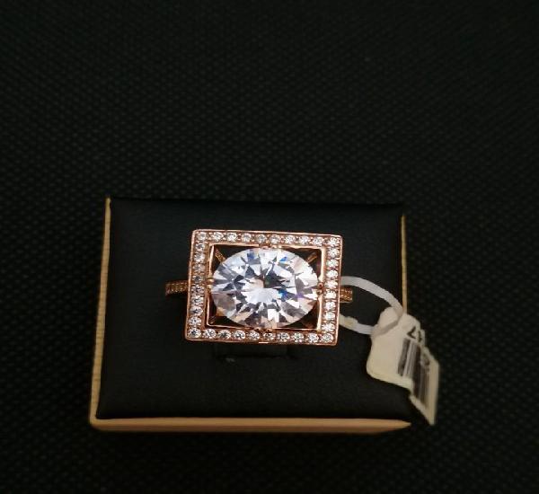 Anillo de plata 925 chapado en oro con cristal facetado y