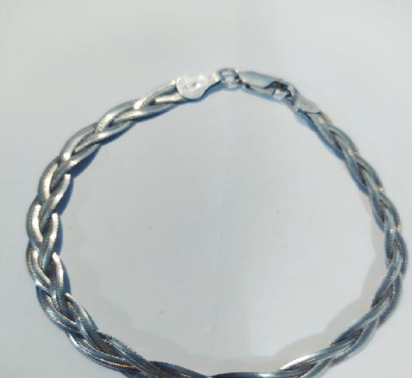 Maravillosa pulsera trenzada de plata de ley 925 antigua