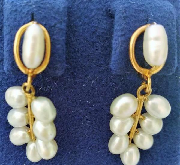 Pendientes oro 18k y perla río
