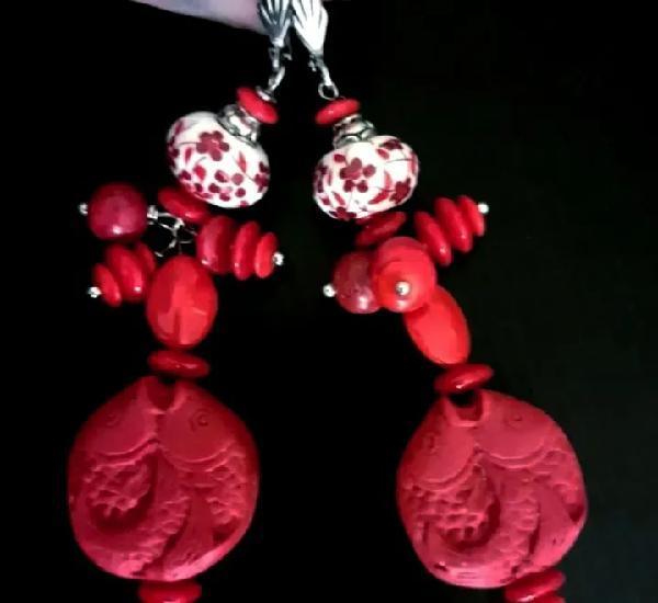 Pendientes rojos con cristal antiguo japonés y peces