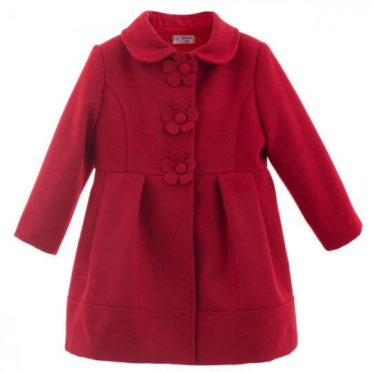 Abrigo boton flor rojo