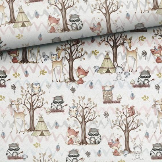 Bosque amigos tela de algodón, tela del bosque boho,