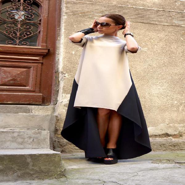 Nueva colección maxi vestido /beige y negro asimétrico