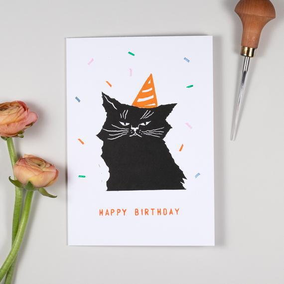 Tarjeta linocut cumpleaños gato con sombrero de fiesta