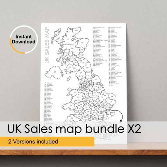 Uk postcode sales map x2 / business sales map / colour in