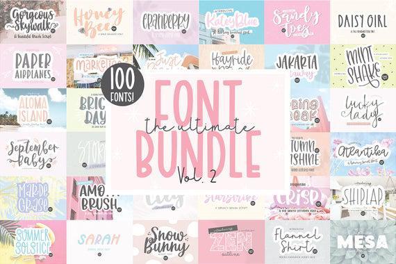 100 fonts! ultimate.otf font bundle, hand lettered font