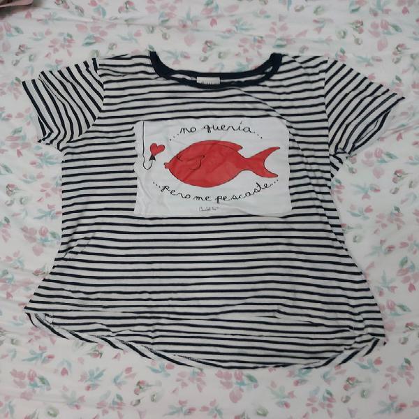 Camiseta manga corta anabel lee rayas marineras.