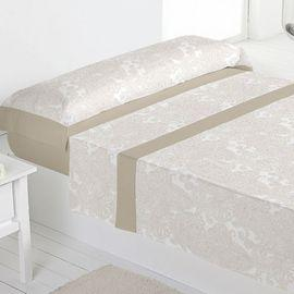 Juego sábanas 100% algodón heras beige