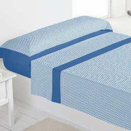 Juego sábanas 100% algodón titán azul