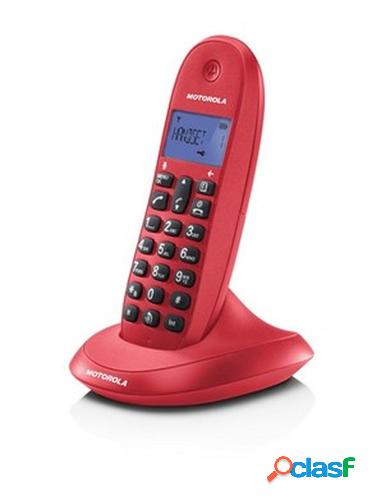Motorola c1001l teléfono dect identificador de llamadas rojo