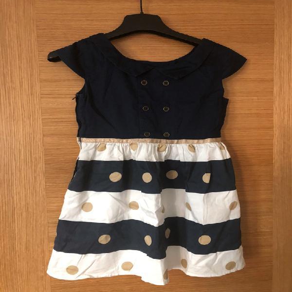 Vestido boboli niña talla 8/128 cm azul marino, beige y