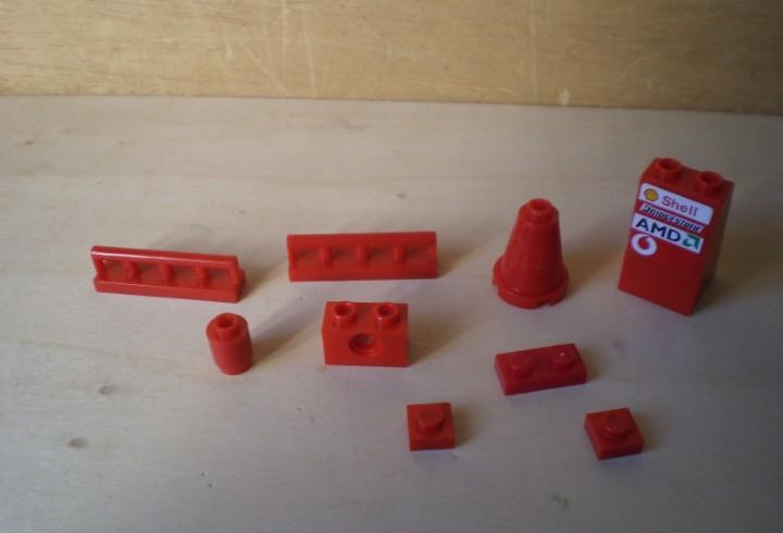 Lote piezas rojas compatibles con lego (no lego)