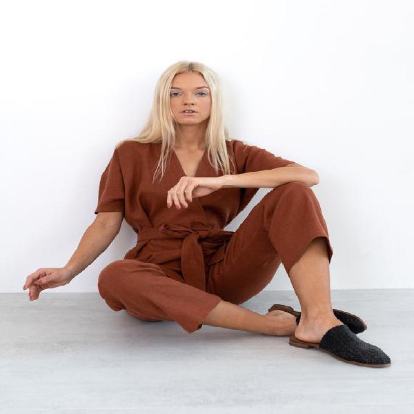 Aurora lino jumpsuit mujeres / lino suelto overalls / lino