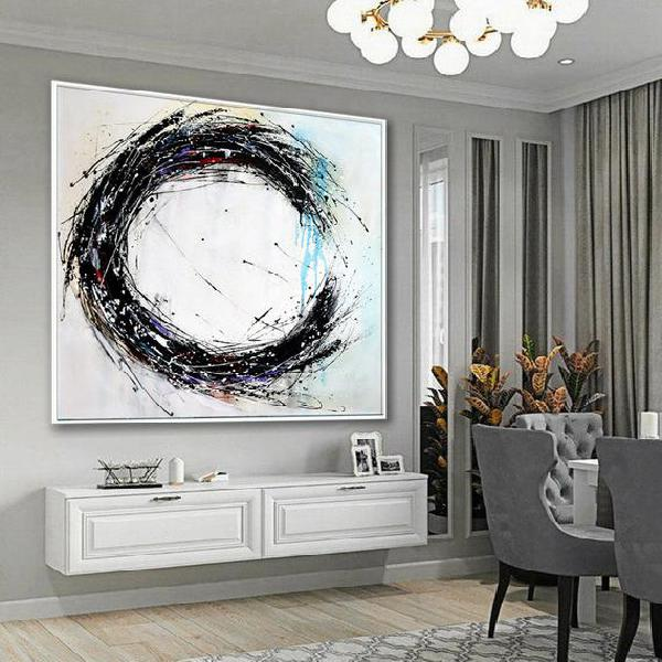 Black and white large wall art abstract painting, circle