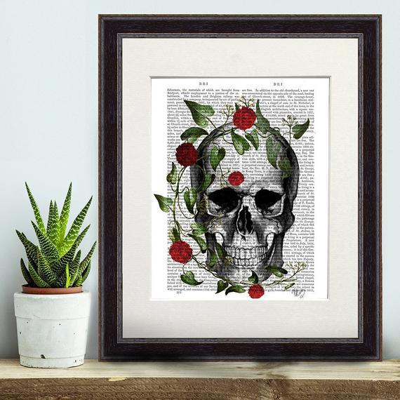 Skull print, vine and flowers, skull and rose, digital