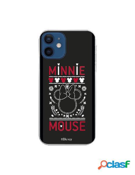 Funda para iphone 12 mini oficial de disney minnie negro bordado - clásicos disney