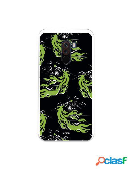 Funda para xiaomi pocophone f1 oficial de disney maléfica patrón verde - villanas disney