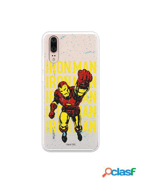 Funda para huawei p20 oficial de marvel iron man color transparente - marvel