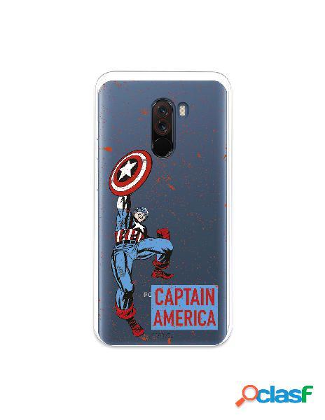 Funda para xiaomi pocophone f1 oficial de marvel capitán américa fondo puntos rojos - marvel