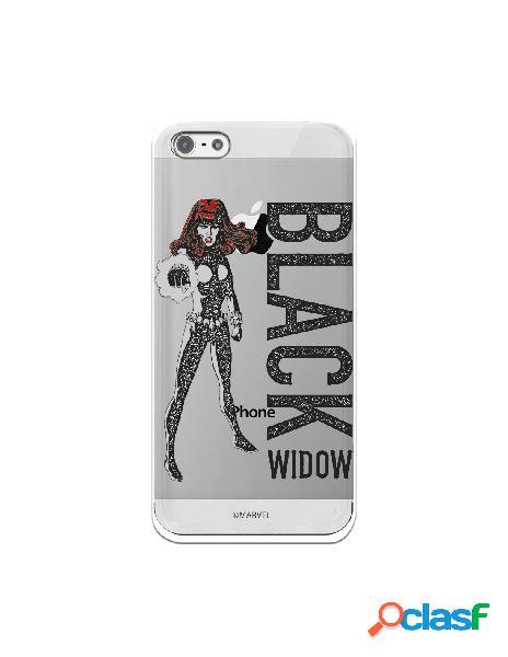 Funda para iphone 5s oficial de marvel black widow punch transparente - marvel