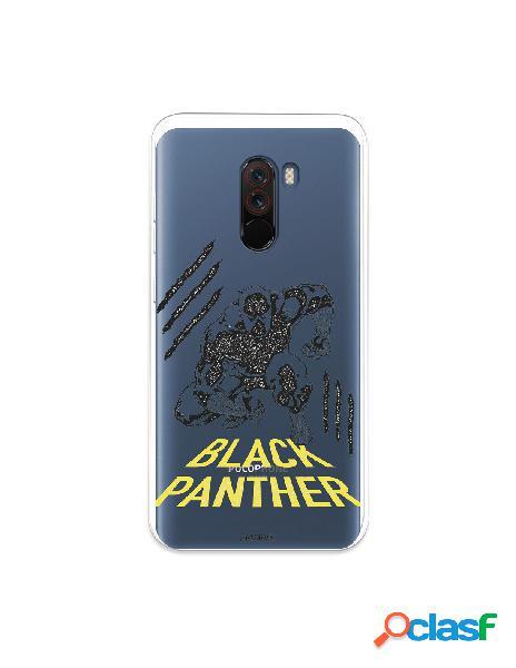 Funda para xiaomi pocophone f1 oficial de marvel black panther pose transparente - marvel