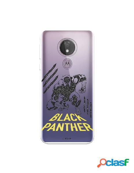 Funda para motorola moto g7 power oficial de marvel black panther pose transparente - marvel