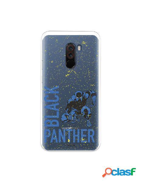 Funda para xiaomi pocophone f1 oficial de marvel black panther fondo puntos amarillos - marvel