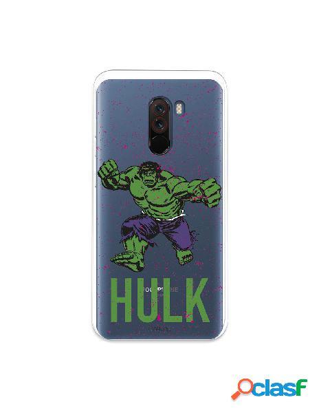 Funda para xiaomi pocophone f1 oficial de marvel hulk fondo puntos purpuras - marvel