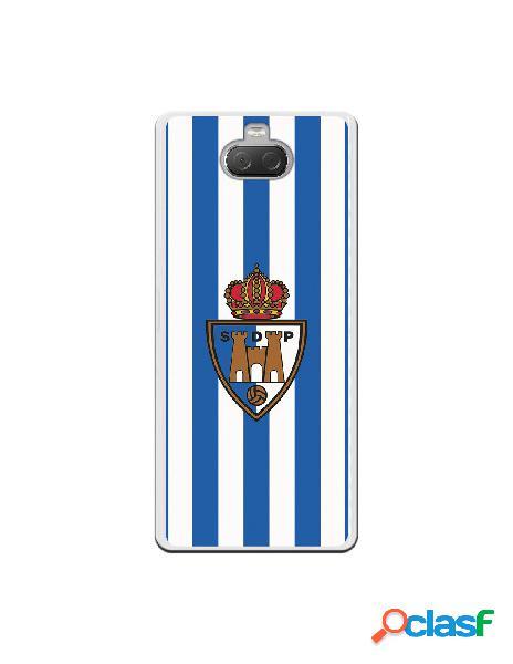 Funda oficial escudo s.d. ponferradina fondo rayas azules y blancas para sony xperia 10 plus
