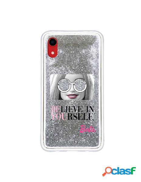 Funda para iphone xr oficial de mattel barbie believe in yourself liquida plateada - barbie