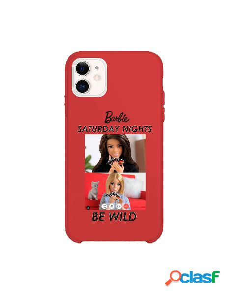 Funda para iphone 11 oficial de mattel barbie saturday nights be wild silicona roja - barbie
