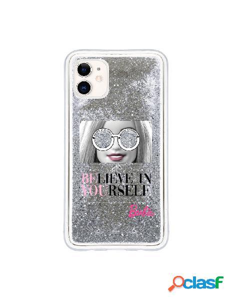 Funda para iphone 11 oficial de mattel barbie believe in yourself liquida plateada - barbie