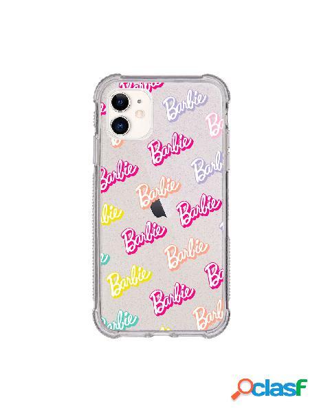 Funda para iphone 11 oficial de mattel barbie logo patrón brillantina reforzada - barbie