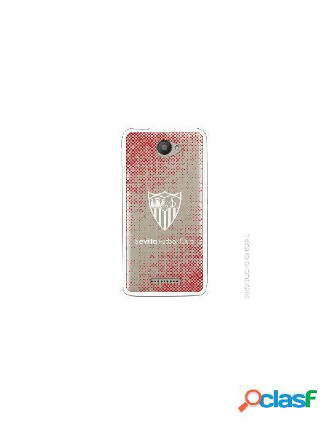 Funda oficial sevilla escudo semitono rojo transparente ss18-19 para bq aquaris u lite
