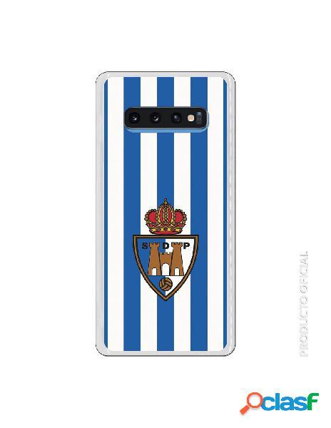 Funda oficial escudo s.d. ponferradina fondo rayas azules y blancas para samsung galaxy s10 plus