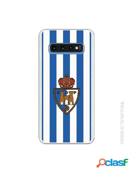 Funda oficial escudo s.d. ponferradina fondo rayas azules y blancas para samsung galaxy s10