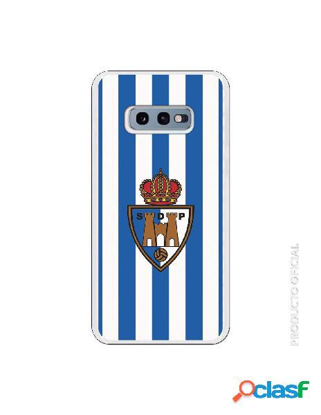 Funda oficial escudo s.d. ponferradina fondo rayas azules y blancas para samsung galaxy s10e